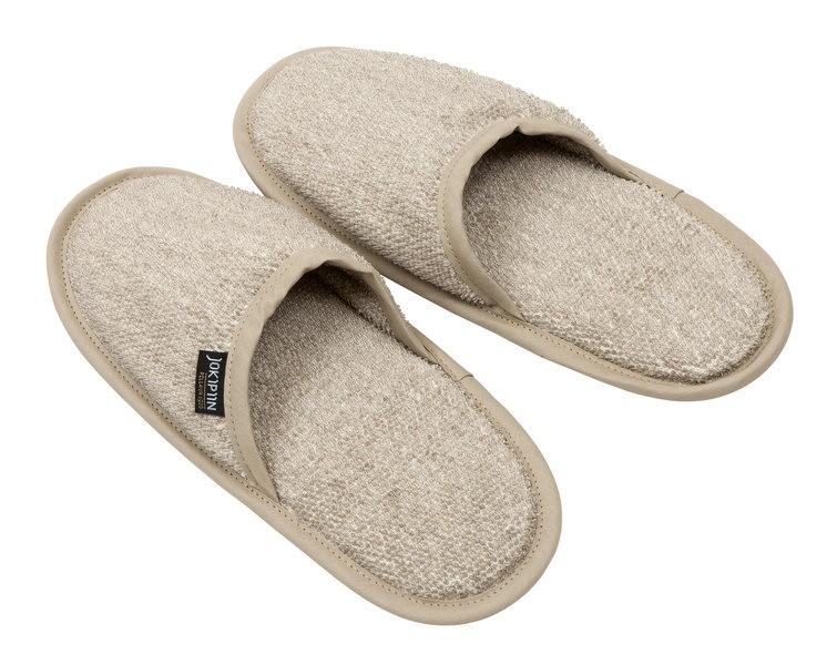 Тапочки льняные махровые Koivu для сауны натуральный лен, размер 43 ... 15b24227b12