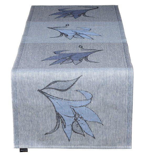 Дорожка для стола, лен 45x160 дизайн Jukka Rintala, голубые лилии